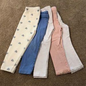 Lot of 5 toddler girl leggings